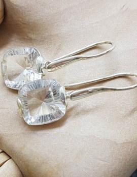 Sterling Silver Long Clear Crystal Quartz Laser Cut Square Drop Earrings