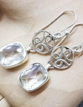 Sterling Silver Long Rectangular Clear Crystal Quartz Ornate Filigree Drop Earrings