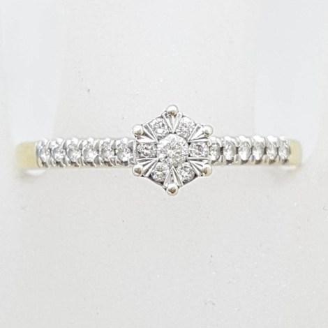 9ct Yellow Gold Diamond Daisy Flower Cluster Ring