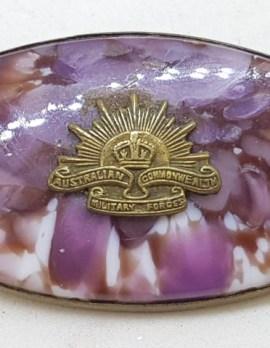 Large Oval Australian War Rising Sun Brooch Pin - Militaria Vintage / Antique