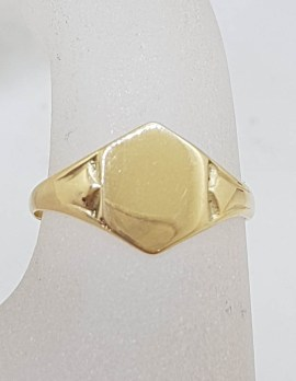 9ct Yellow Gold Hexagonal Shaped Signet Ring - Antique / Vintage