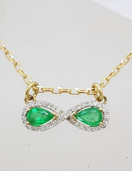 9ct Yellow Gold Natural Emerald and Diamond Infinity Pendant on Gold Chain