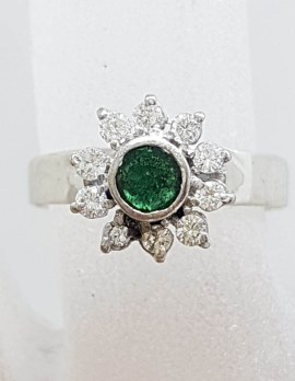 18ct White Gold Natural Emerald and Diamond High Set Daisy Flower Cluster Ring - Antique / Vintage