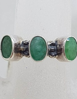 Sterling Silver Three Emerald Ring