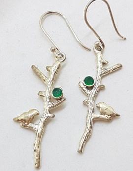 Sterling Silver Long Emerald with Bird on Branch Drop Earrings