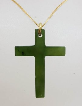 9ct Yellow Gold New Zealand Green Stone / Jade - Cross / Crucifix Pendant on Gold Chain – Antique / Vintage