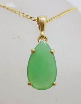 9ct Yellow Gold Faceted Chrysoprase / Australian Jade Pendant on Gold Chain
