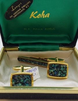 Plated New Zealand Paua Shell Cufflinks and Tie Bar Set - Vintage