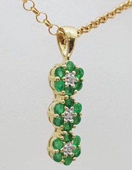 9ct Yellow Gold Natural Emerald and Diamond 3 Daisy Cluster Pendant on Gold Chain