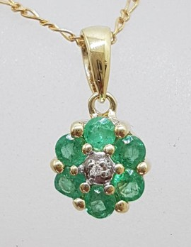 9ct Yellow Gold Natural Emerald and Diamond Daisy Cluster Pendant on Gold Chain