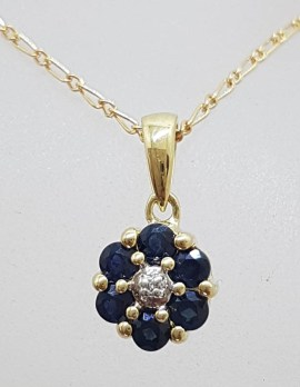 9ct Yellow Gold Natural Sapphire and Diamond Daisy Flower Cluster Pendant on Gold Chain
