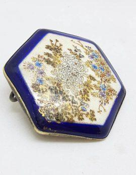 Antique Japanese Satsuma Brooch - Hexagonal - Floral Scenery