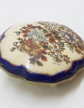 Antique Japanese Satsuma Brooch - Unusual Shape - Floral Scenery