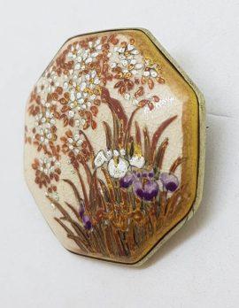 Antique Japanese Satsuma Brooch - Octagonal - Floral & Iris Scenery