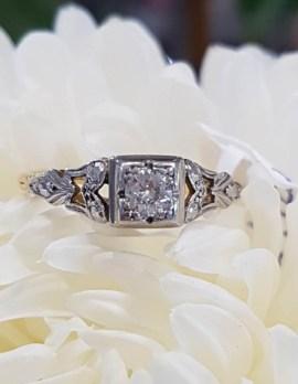 18ct Yellow Gold Ornate Set Diamond Engagement Ring - Antique / Vintage