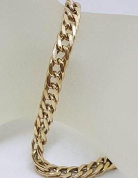 9ct Yellow Gold Flat Curb Link Bracelet - Ladies Bracelet / Gents Bracelet