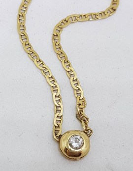 18ct Yellow Gold Very Elegant and Classic Round Bezel Set Diamond Collier Necklace / Chain