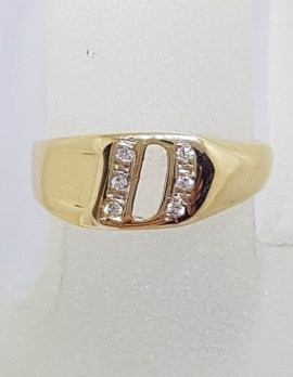 9ct Yellow Gold Initial D Diamond Signet Ring - Vintage
