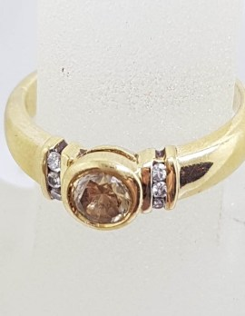 18ct Yellow Gold Chocolate / Cognac Coloured Argyle Diamond Ring with Clear Diamonds along Side