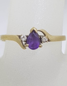 9ct Yellow Gold Teardrop / Pear Shape Amethyst and Diamond Ring - Vintage