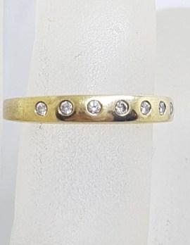 9ct Yellow Gold Inset Diamond Band Ring / Wedding Ring / Eternity Ring