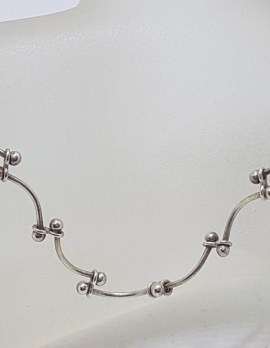Sterling Silver Unusual Twist Link Necklace / Chain - Vintage