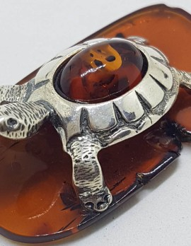 Turtle / Tortoise – Solid Sterling Silver Natural Baltic Amber Animal Figurine / Statue / Sculpture