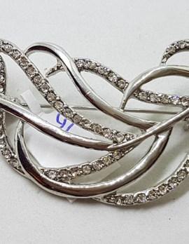 Plated Large Rhinestone Leaf / Spray Brooch – Vintage Costume Jewellery
