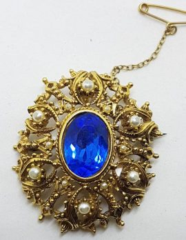 Plated Oval Blue and White Cluster Brooch – Vintage Costume Jewellery