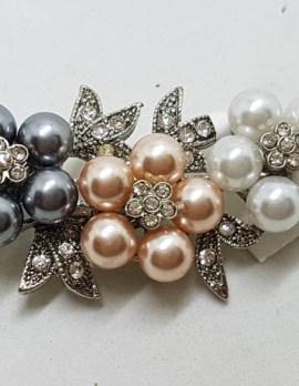 Plated Rhinestone Floral Brooch - Vintage Costume Jewellery
