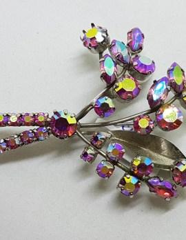 Large Plated Pink Aurora Borealis Rhinestone Spray Brooch - Vintage Costume Jewellery