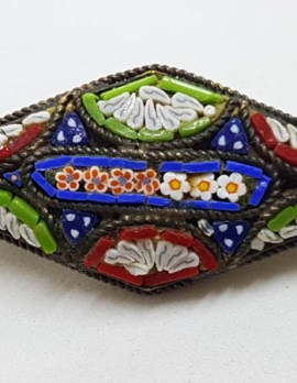 Plated Marquis Shape Mosaic Floral Brooch - Vintage Costume Jewellery