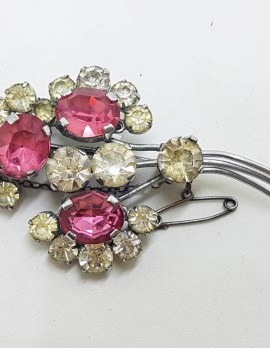 Plated Pink and Clear Rhinestone Floral Brooch - Vintage Costume Jewellery
