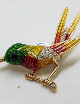 Enamel, Rhinestone and Plated Bird on a Brance Brooch - Vintage Costume Jewellery