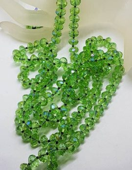 Very Long Austrian Crystal Green Bead Necklace - Vintage