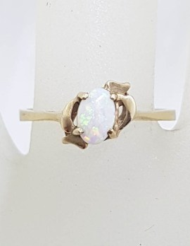 9ct Yellow Gold Solid White Opal Ring - Antique / Vintage