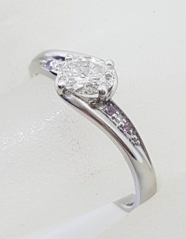 18ct White Gold Oval Diamond with 4 Round Amethyst Handmade Engagement Ring / Dress Ring