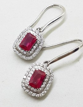 Sterling Silver Cubic Zirconia and Red Rectangular Drop Earrings