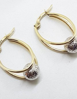 9ct Yellow Gold and White Gold - Two Tone - Ball in Hoop Earrings