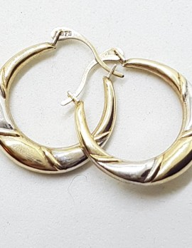9ct Yellow Gold and White Gold - Two Tone - Hoop Earrings