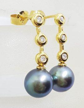 18ct Yellow Gold Black Tahitian Pearl with Diamond Long Drop Earrings