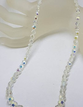 Crystal Bead Necklace with Plated and Aurora Borealis Clasp - Vintage