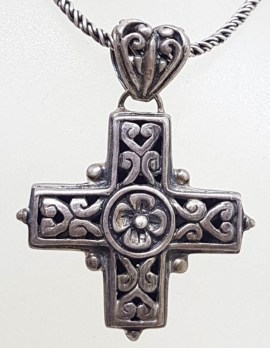 Sterling Silver Ornate Floral Design Cross / Crucifix Pendant on Silver Chain - Vintage