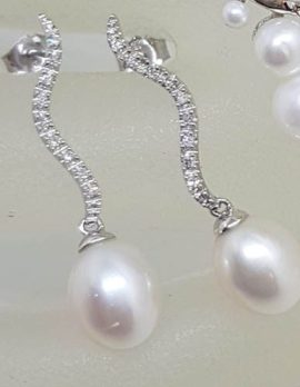 Group9ct White Gold with Pearl and Diamond Curved Long Drop Earrings