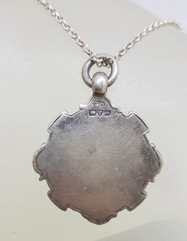 Sterling Silver Boxing Medallion Pendant on Silver Chain - Antique / Vintage - Medal