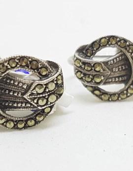 Sterling Silver Marcasite Screw-On Earrings - Antique / Vintage