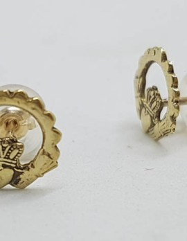 9ct Yellow Gold Flat Claddagh Stud Earrings