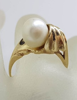 9ct Yellow Gold Unusual Twist Pearl Ring - Antique / Vintage