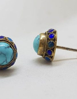 14ct Yellow Gold Natural Turquoise Ornate Round Stud Earrings with Enamel Design Along the Side