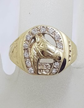9ct Yellow Gold Horse Head in Horsehoe with Diamonds Ring - Gents Ring / Ladies Ring